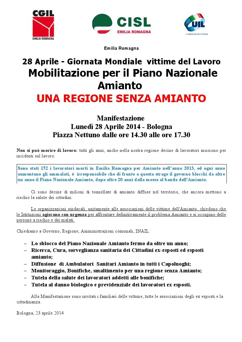 Manifestazione Una regione senza amianto_volantino